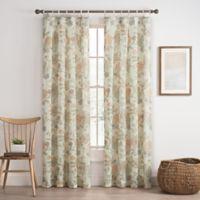Cassora 108-Inch Skinny Tab Floral Print Window Curtain Panel in Blush