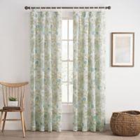 Cassora 108-Inch Skinny Tab Floral Print Window Curtain Panel in Spa