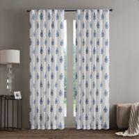 Regency Heights Aria Stamp 63-Inch Rod Pocket Sheer Window Curtain Panel in Denim
