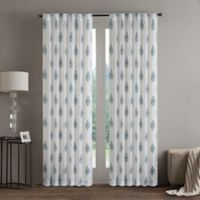 Regency Heights Aria Stamp 108-Inch Rod Pocket Sheer Window Curtain Panel in Aqua