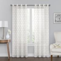 Monroe Embroidered 50-Inch x 95-Inch Grommet Top Window Curtain Panel in Ivory