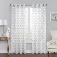 Monroe Embroidered 50-Inch x 108-Inch Grommet Top Window Curtain Panel in White
