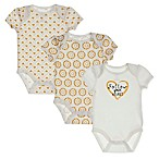 "Sterling Baby Size 6M 3-Pack ""Follow Your Heart"" Bodysuits in Ivory/Gold"