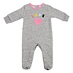 Sterling Baby Newborn Love Patch Fleece Footie in Grey