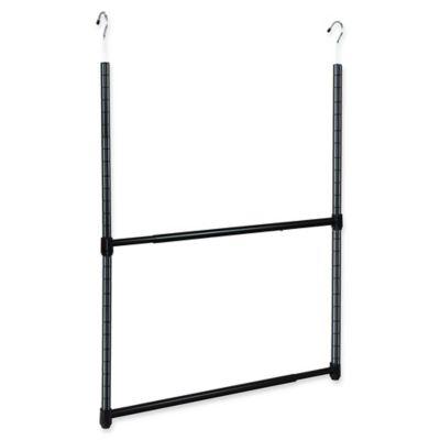 Oceanstar Design 2 Tier Adjustable Closet Rod In Black