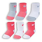 Nike® Size 6-12M 6-Pack Logo Socks in Pink/Grey