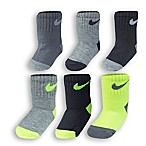 Nike® 12-24M 6-Pack Volt Socks in Black/Lime