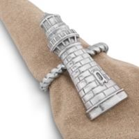 Arthur Court Designs Sea and Shore Lighthouse Napkin Rings (Set of 4)