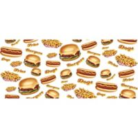 "Foflor Burgers Fries Dogs Runner 25"" x 60 Kitchen Mat in White"
