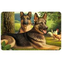 """FoFlor German Shepherds and Chickens 23"""" x 36"""" Kitchen Mat in Green"""