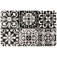 "FoFlor Ceramic Tile 23"" x 36"" Kitchen Mat in Black/White"