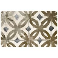 "FoFlor Gold Tile 23"" x 36"" Kitchen Mat in Natural"