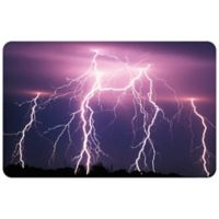 "FoFlor Lightning Strikes 23"" x 36"" Kitchen Mat in Purple"