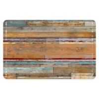 "FoFlor Cleveland Wood 46"" x 66"" Kitchen Mat in Aqua/Brown"