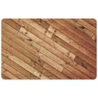 "FoFlor Angled Planks 23"" x 36"" Kitchen Mat in Brown"
