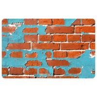 "FoFlor Painted Brick 23"" x 36"" Kitchen Mat in Aqua"