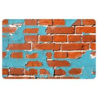 "FoFlor Painted Brick 25"" x 60"" Kitchen Mat in Aqua"