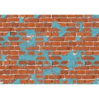 "FoFlor Painted Brick 46"" x 66"" Kitchen Mat in Aqua"