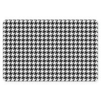 "FoFlor New Houndstooth 23"" x 36"" Kitchen Mat in Black/White"