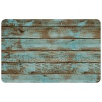 "FoFlor Roughwood 23"" x 36"" Kitchen Mat in Aqua/Brown"