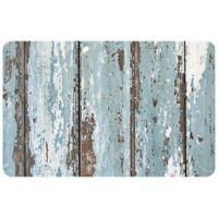 """FoFlor Rustic Painted Floor 23"""" x 36"""" Kitchen Mat in Aqua/Brown"""