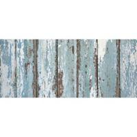 """FoFlor Rustic Painted Floor 25"""" x 60"""" Kitchen Mat in Aqua/Brown"""