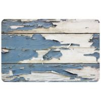 "FoFlor Peeled Paint Plank 23"" x 36"" Kitchen Mat in Blue"