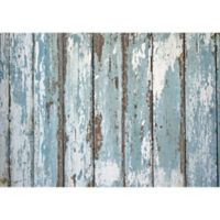 "FoFlor Peeled Paint Plank 46"" x 66"" Kitchen Mat in Blue"