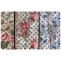 "FoFlor Floral Woodgrain 23"" x 36"" Kitchen Mat in Pink/Blue"