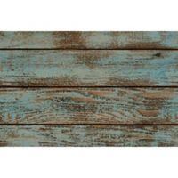 """Foflor Dark Painted Floor 23"""" x 36"""" Kitchen Mat in Aqua/Brown"""