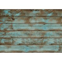 "Foflor Dark Painted Floor 46"" x 66"" Kitchen Mat in Aqua/Brown"