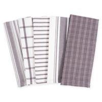 KAF Home Kitchen Towels in Grey (Set of 5)