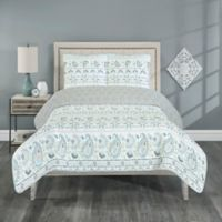 Zoe Reversible Twin Quilt Set in Light Grey