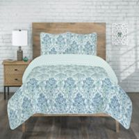 Raelyn Reversible Twin Quilt Set in Aqua