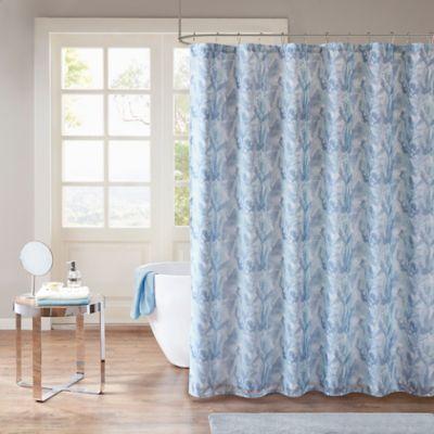 Madison Park Mahi Shower Curtain In Aqua Indigo