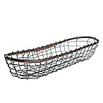 Down To Earth 20-Inch Bread Basket in Silver/Dark Grey with Rattan Trim