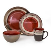 Over and Back® Feather 16-Piece Dinnerware Set in Red/Grey