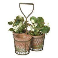 Boston International Trio Carrier with Shovel Handle Garden Planter in Green/Terracotta
