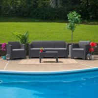 Flash Furniture 4-Piece Outdoor Faux Rattan Conversation Set in Dark Gray