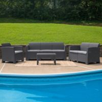Flash Furniture 4-Piece Outdoor Faux Rattan Conversation Set in Gray