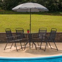Flash Furniture 6-Piece Outdoor Patio Table Set with Umbrella in Black