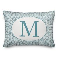 Designs Direct Monogram Indoor/Outdoor Oblong Throw Pillow in Faded Blue
