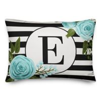 Designs Direct Monogram Stripes Indoor/Outdoor Oblong Throw Pillow in Black/White