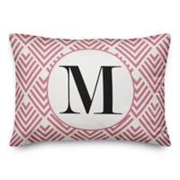 Designs Direct Monogram Geometric Indoor/Outdoor Oblong Throw Pillow in Blush