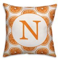 Designs Direct Orange Slice Monogram Indoor/Outdoor Square Throw Pillow