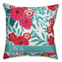 Designs Direct Painted Florals Indoor/Outdoor Square Throw Pillow in Teal/Pink