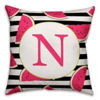 Designs Direct Watermelon Slice Monogram Indoor/Outdoor Square Throw Pillow