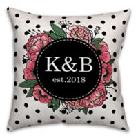 Designs Direct Floral Wreath Polka Dot Indoor/Outdoor Square Throw Pillow