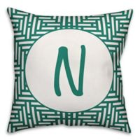 Designs Direct Aztec Monogram Indoor/Outdoor Throw Pillow in Teal
