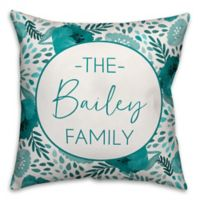 Designs Direct Floral Indoor/Outdoor Square Throw Pillow in Teal